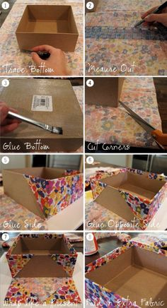 Think outside the box with these cardboard crafts. Think outside the box with these cardboard crafts Diy Storage Boxes, Fabric Storage Bins, Craft Room Storage, Craft Organization, Fabric Covered Boxes, Fabric Boxes, Diy Para A Casa, Diy Karton, Cardboard Box Crafts