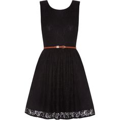 Yumi Lace Skater Dress ($49) ❤ liked on Polyvore featuring dresses, black, robes, vestidos, clearance, sleeveless skater dress, black collared dress, summer dresses, summer skater dresses and round neck sleeveless dress