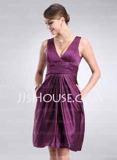 Bridesmaid Dresses - $79.99 - A-Line/Princess V-neck Knee-Length Satin Bridesmaid Dress With Ruffle (007004302) http://jjshouse.com/A-Line-Princess-V-Neck-Knee-Length-Satin-Bridesmaid-Dress-With-Ruffle-007004302-g4302