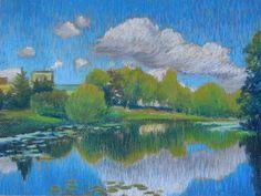 Lake in Kolomyagi. Paper, oil pastels, 27x34 cm