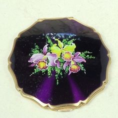 Vintage Stratton Powder Compact Enameled Purple with Iris Flowers