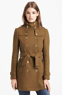 Burberry Brit 'Daylesmoore' Wool Blend Trench Coat. LOVE the color of this coat. So gorgeous!