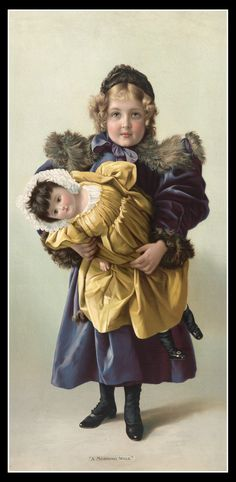 Victorian girl with her doll.  Looks like this little girl has everything.  It might be a bit difficult to move, though, with this particular coat on.  :)