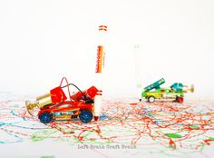 Upcycled Toy Car Marker Bots via @craftbrain