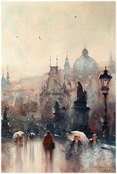 Dusan Djukaric Watercolor, 36x54 cm #watercolor jd