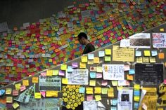 China. Democracy. Protest. Sticky notes. Hong Kong. By the people. Messages.