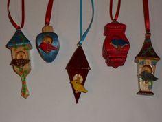 Set of 5 3D Birdhouse Ornaments by KentsKrafts on Etsy, $25.00