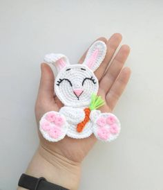 PATTERN Rabbit Applique Crochet Pattern PDF Woodland Animals Pattern Easter Bunny Applique Crochet Easter Rabbit Baby Blanket Baby Gift ENG - Donate Car to Charith California Crochet Animal Patterns, Applique Patterns, Stuffed Animal Patterns, Crochet Animals, Motifs D'appliques, Crochet Motifs, Easter Crochet, Crochet Bunny, Crochet Unique