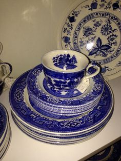 Antique store items, made in japan blue willow.