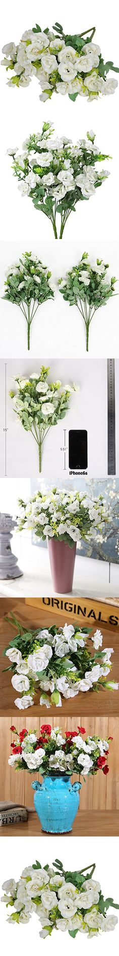 Luyue 7 Branch 21 Heads Artificial Silk Fake Flowers Leaf Rose Wedding Floral Decor Bouquet,Pack of 2 (Happy White)