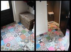 cement tegels bonte vloer. Door Suus54