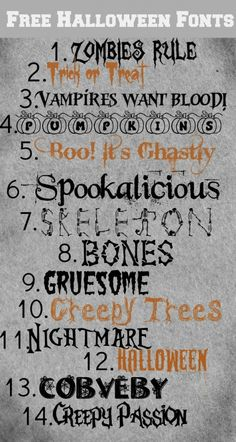 These Halloween fonts are great for making party place-cards, gift tags, decorative signs, banners, you name it! Free Fonts for Halloween Free Fonts For HalloweenFree Dingbats For Fa. Halloween Fonts, Halloween Signs, Halloween Cards, Halloween Labels, Halloween Porch, Halloween 2020, Fall Halloween, Halloween Ideas, Halloween Decorations
