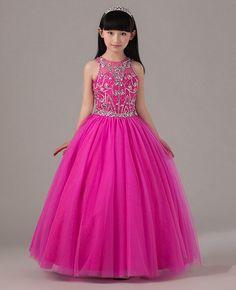 Vestido de bola Beaded niña vestido del desfile Keyhole volver fucsia de tul largo Kids vestido Formal por encargo en Vestidos de Damita de Honor de Bodas y Eventos en AliExpress.com | Alibaba Group