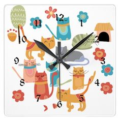 Cat Lover Wall Clock | Colourful Kitty Cats Print Gifts for Cat Lovers Wall Clock | Zazzle