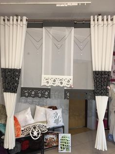 (Picture J … – Curtain Ideas Curtain Styles, Curtain Designs, Curtain Ideas, Home Curtains, Curtains With Blinds, Valance, Window Coverings, Window Treatments, Rideaux Design