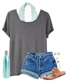 """omg im backkkkkkkk"" by mlainezrubi on Polyvore featuring Free People, Organic by John Patrick, Levi's, Joie, Charlotte Russe, Carolee and S'well"