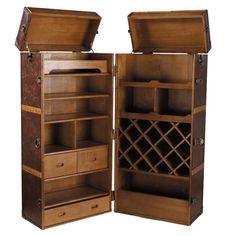 Leather Bar Unit with Drawers Jules Verne Jules Verne, Mobile Bar, Mini Bars, Corner Bar, Bar Unit, Campaign Furniture, Home Bar Decor, Vintage Trunks, Drinks Cabinet