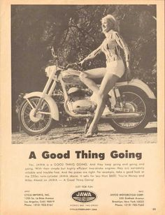 1965 Print Advertisement Ad Jawa Motorcycle Just for fun Sexy Blonde Hot Pants - Advintage Plus Vintage Advertisements, Vintage Ads, Vintage Photos, Vintage Posters, Bike Poster, Motorcycle Posters, Jawa 350, White Motorcycle, Damier
