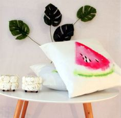 Watercolour watermelon cushion perfect for summer and by CitraHome