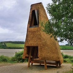 wood+thatch Artist Emily Mannion and architect Thomas O'Brien have created a thatched folly overlooking the sea and sand dunes near a forest park in Ireland.