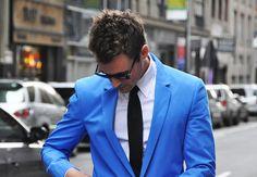 He's blue.