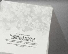 Grey Flowers Wedding Invitation