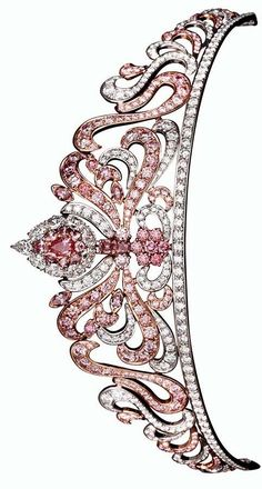 Linneys' Pink Diamond Tiara, Designed by Asprey of London; set with 178 rare Argyle pink diamonds totaling almost Royal Crowns, Royal Tiaras, Tiaras And Crowns, Diamond Tiara, Diamond Jewelry, Diamond Rings, Royal Jewelry, Vintage Jewelry, Bling Bling