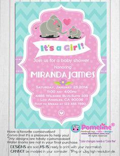 Printable Elephant baby shower invitation. Digital baby girl shower invitation. It's a girl shower invitation.  Any occasion, any wording!
