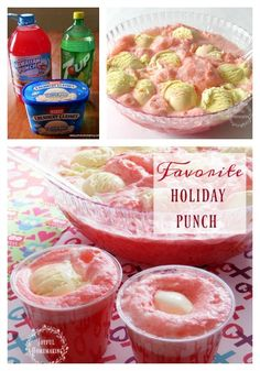 Holiday Punch - a favorite with fruit punch, 7 UP and vanilla icecream or sherbert! punch recipes with sherbert Punch with Vanilla Ice-Cream - Joyful Homemaking Sherbert Punch Recipes, Sherbet Punch, Easy Punch Recipes, Fruit Punch, Alcohol Recipes, Vodka Punch, Punch Punch, Berry Punch, Blue Punch