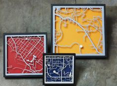 CUSTOM Laser Cut Map With Minimal Shadowbox por CollectedEdition
