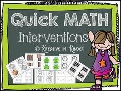Quick Math Interventions for Kinder & Struggling 1st! If you take five minutes throughout the day to practice these cards, it will help your students with counting, number memorization, etc. They will be more prepared for state tests and build math fluency with the ability to recall quickly. Objectives include: time to the hour, coin recognition, numbers to thirty, tallies, tens bundles, dice, dominoes, and more! $