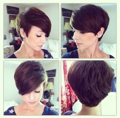 Girl, brown hair, long pixie cut