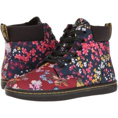 Dr. Martens Maelly FC (Multi Floral Mix T Canvas) Women's Boots ($65) ❤ liked on Polyvore featuring shoes, boots, red, floral-print boots, floral-print shoes, pull on boots, slip-on shoes and slip on boots
