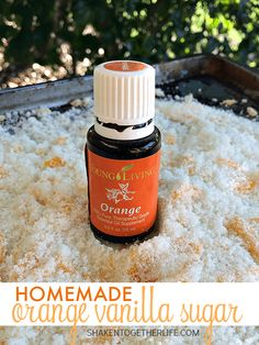 Homemade Orange Vanilla Sugar makes a sweet gift! Sugar is infused with orange essential oil, vanilla and real orange zest. SO good in hot or iced tea, sprinkled over buttered toast or used in baking recipes! Vanilla Essential Oil, Orange Essential Oil, Essential Oil Blends, Essential Oils, Orange Oil, Orange Zest, Lime Salt, Body Scrub Recipe, Vanilla Sugar