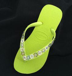0a533e176fbd8 Wedding Flower Girl Bridesmaid Crystal Flip Flops Swarovski Havaianas  Chartreuse Daisy Chain Childrens Shoes by GlassSlippersCC