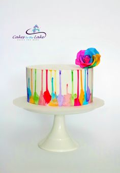 1798 best decorated cakes and cookies . Crazy Cakes, Pretty Cakes, Beautiful Cakes, Painted Cakes, Decorated Cakes, Multi Color Cake, Caramel Mud Cake, Watercolor Cake, Fake Cake