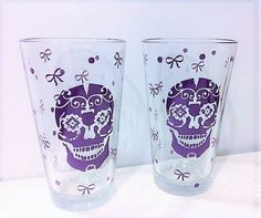 Sugar Skull Pint Glass Dia de Muertos Pint by MaidenLongIsland