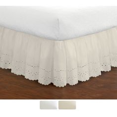 "$28.49 in Full with 18"" drop. Give your bed a tailored look when you add this ruffled 18-inch bedskirt. This ruffled Lauren eyelet bedskirt is durable, soft, and machine-washable and is made from an easy-care blend of polyester and cotton for long-lasting good looks."