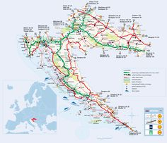 Cool illustrated tourist map highlights significant tourist destinations with drawings of Croatia Map, Croatia Travel, Backpacking Europe, Dubrovnik, Montenegro, Bósnia E Herzegovina, Croatian Coast, Sites Touristiques, Tourist Map