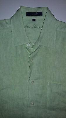 ALAN FLUSSER 100% LINEN MEN'S SHIRT Light Green Lime Medium Short Sleeve EUC