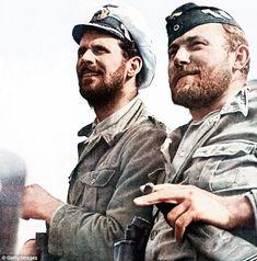 Comrades: War correspondent Kriegsberichter Meisinger (right) and lieutenant commander Reinhard Hardegen (left) aboard the submarine U-123