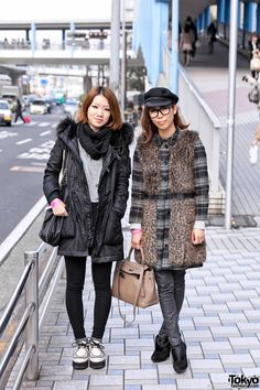 I've been searching for Tokyo fashion pictures and the woman-child-kawaii look is so big.  These two women are going for a more adult look and I like it.