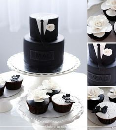 Groom's tuxedo cake with matching black and white cupcakes by Bake-a-boo Cakes NZ Black And White Cupcakes, Black White Cakes, Black And White Wedding Cake, White Wedding Cakes, Black Tux, Gucci Black, White Tuxedo, White Weddings, Tuxedo Wedding