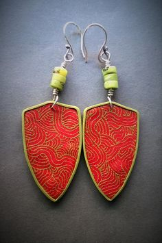 https://flic.kr/p/FrR4M4 | WP_20160318_005 | Silk screened polymer clay earrings with sterling silver ear wires
