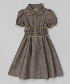 Look at this Dark Gray & Tan Shirred Puff-Sleeve Dress - Toddler & Girls on #zulily today!