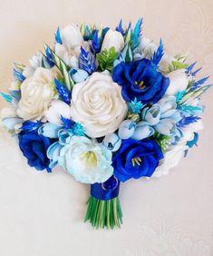 Freesia Eustoma Tulip Rose Lavender Bridal Bouquet Blue And White Wedding Bouquet - Hochzeit Prom Flowers, Blue Wedding Flowers, White Wedding Bouquets, Bridal Flowers, Wedding White, Blue Flowers, Purple Bouquets, Blue Orchids, Purple Wedding
