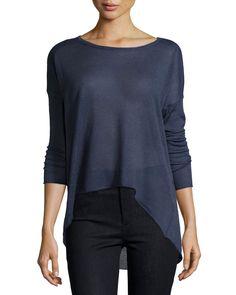 Neiman Marcus High-Low Drop-Shoulder Sweater, Navy, Women's, Size: L