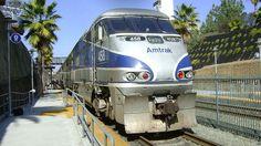 An Amtrak EMD F59PHI locomotive parked in Solana Beach, CA on Pacific Surfliner service.