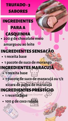 Aprenda a Fazer Geladinho Gourmet Bite Size Desserts, Yogurt Parfait, Summer Treats, Food And Drink, Chocolates, House, Strawberry Slush, Raw Recipes, 3 Ingredients