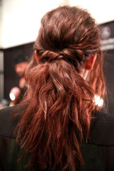 Great sexy ponytail.  Not super easy, but it will give you an effortless look all night.
